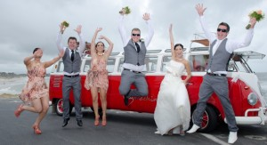 Bridal Party jumpimg in the air